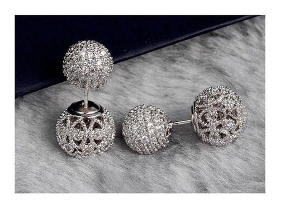 Filigree Double Ball Ear Jacket Earrings cz diamonds