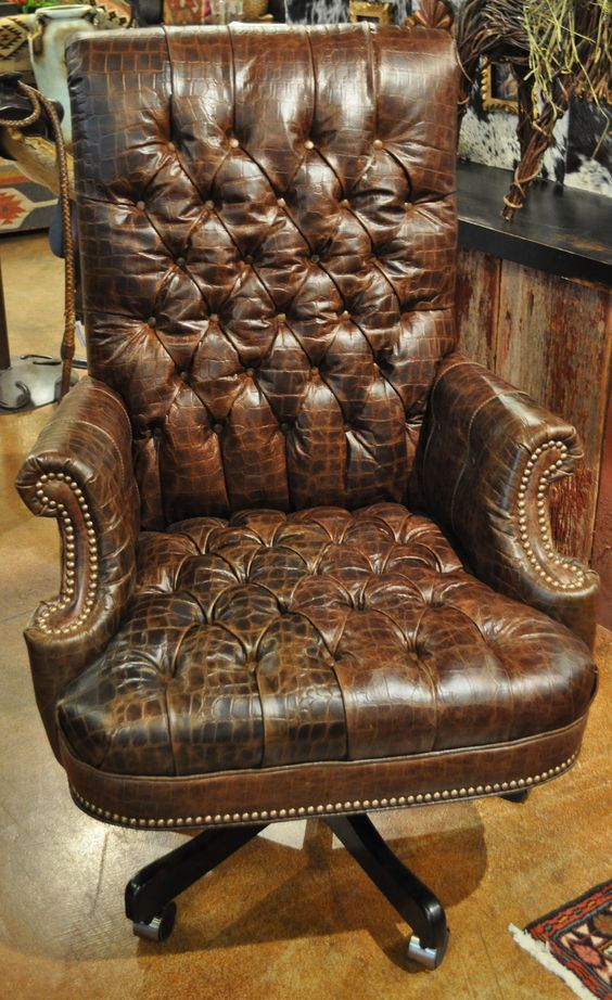 leather office chair in brown tufted embossed croc httpwwwrawhideranchco brown leather office chairs