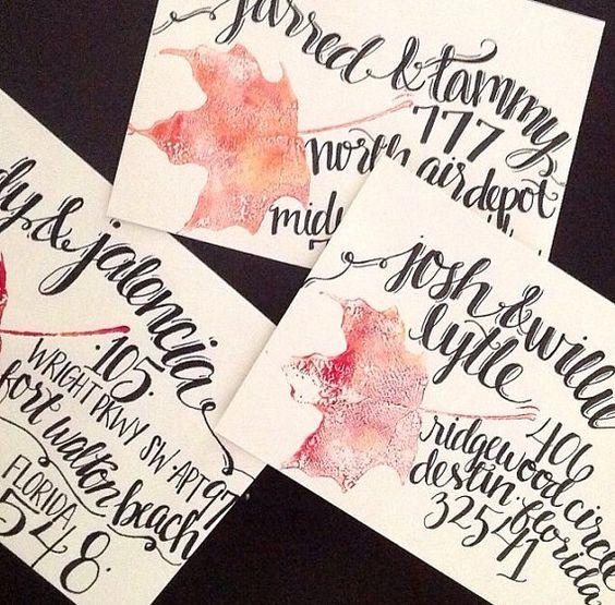 Handwritten envelope addressing wedding calligraphy