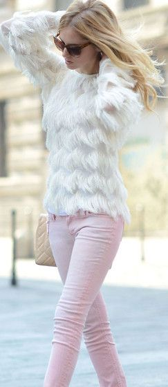 whites and lights. pastel pink skinny jeans and funky white top