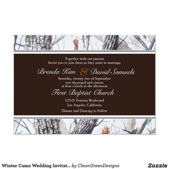 WINTER WEDDING Camo Camouflage Trees Chic Snow Wedding Invites Announcements Invitations  #wedding #snow #winter #camo #camouflage