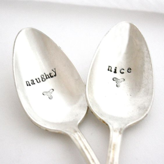 Naughty or Nice coffee spoons, Hand stamped silverware for Christmas table decor. engagement gift, winter wedding (MADE TO ORDER)