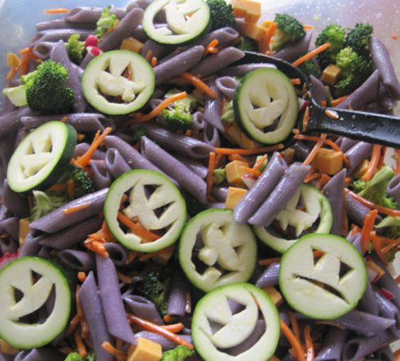 RECIPE: Halloween Pasta Salad. Ingredients includes pasta, carrots ...