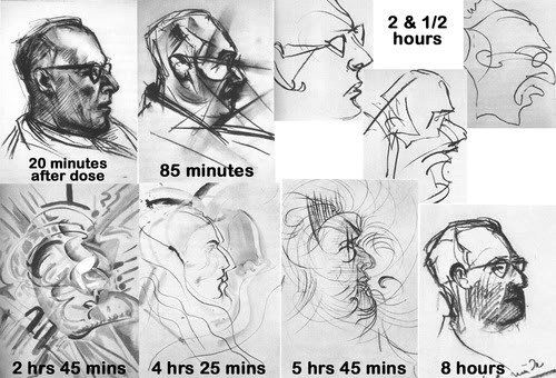 These 9 drawings were done by an artist under the influence of LSD as part of a test conducted by the US government in the late 1950's. The artist was given a dose of LSD 25 and free access to an activity box full of crayons and pencils. His subject was the medic.