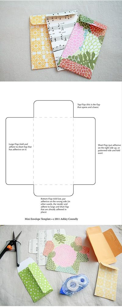 Diy: free printable mini envelope template