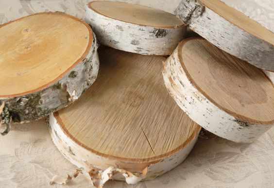 """Mantel decor:  Natural Birch Tree Slices 6-8"""" wide $16 each (2"""" thick)"""