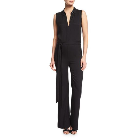 Diane von Furstenberg Traci Sleeveless Silk-Stretch Jumpsuit ($125) ❤ liked on Polyvore featuring jumpsuits, black, diane von furstenberg, diane von furstenberg jumpsuit, tie belt, fitted jumpsuit and jump suit