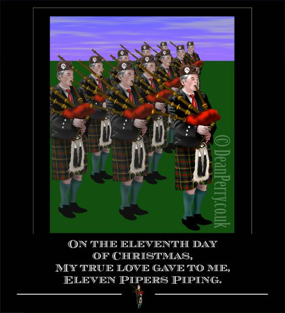Eleven Pipers Piping 12 Days Of Christmas Pinterest