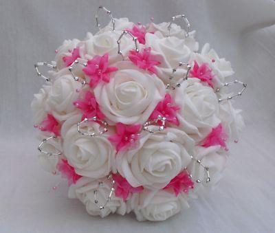 black white and hot pink wedding flower arrangements | WEDDING FLOWERS - BRIDES BRIDESMAIDS POSY BOUQUET IN WHITE HOT PINK ...
