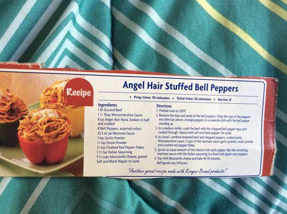 angel hair stuffed bell peppers | Recipe Binder | Pinterest | Angel ...
