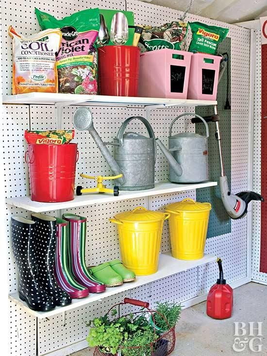Storing boots, bins, soil, and watering cans upright on adjustable shelves frees up space and eliminates clutter on the floor. With adjustable shelving, it's easy to make room for different-size objects as your storage needs change. Simply remount the shelves at different heights to accommodate new items.