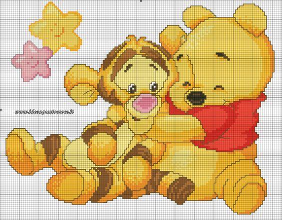 Schema punto croce baby winnie pooh e tigro ponto cruz for Winnie the pooh punto croce schemi