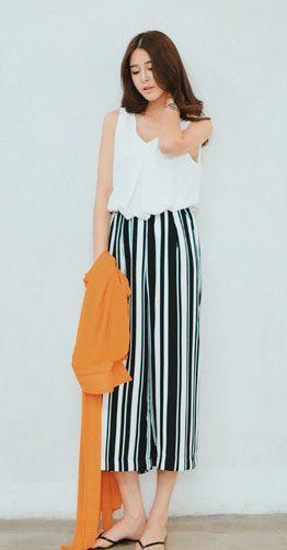 Wide-leg striped chiffon pants