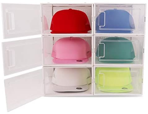 Amazon Com Boxy Concepts Hat Organizer For Baseball Caps Pack Of 6 Transparent Durable Hat Storage Box With Click Hat Storage Hat Holder Hat Organization