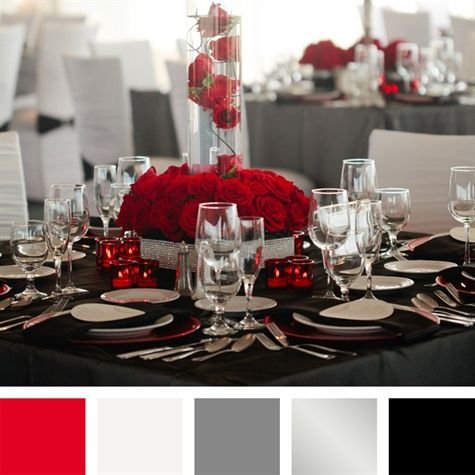 Red White Gray Silver Black Color Palette Wedding