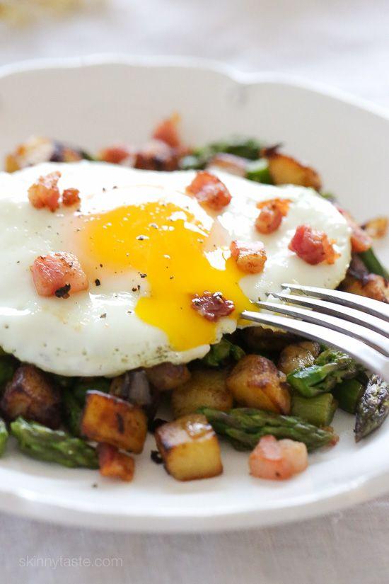 ... sauteed asparagus, diced Yukon gold potatoes, pancetta and shallots