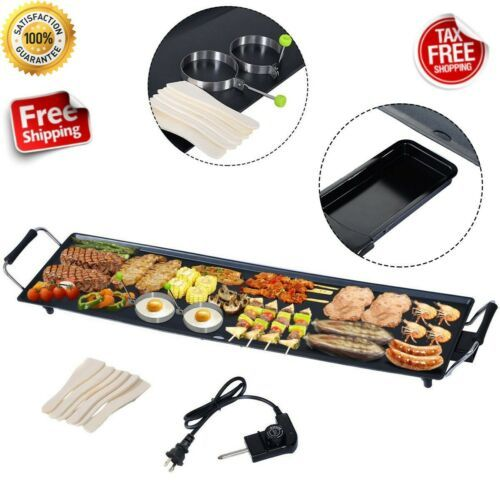 Details About Commercial Electric Griddle Flat Top Countertop Large Non Stick Grill Bbq 2000 W Teppanyaki