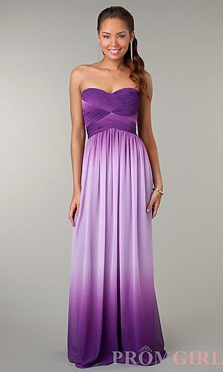 Strapless sweetheart purple ombre dress at for Purple ombre wedding dress