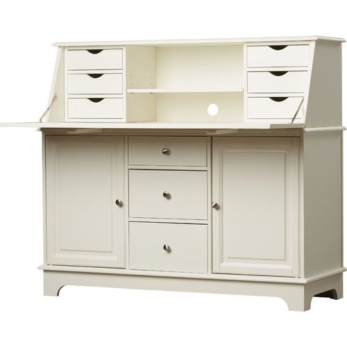Features:  -Solid hardwood and veneer construction.  -No -- tool design makes assembly simple and fast.  -Large base cabinet.  -Hutch featuring slant-top, hinged writing surface.  -10 Storage drawers.
