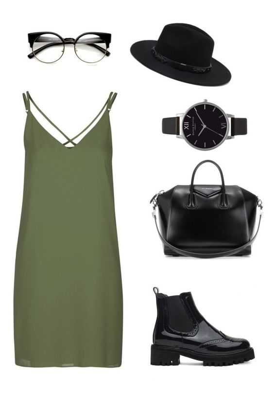 """""""Nerdy grunge"""" by outfits-by-jahan on Polyvore featuring Topshop, Forever 21, Givenchy and Olivia Burton"""