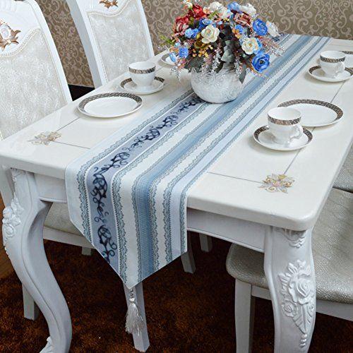 Table Runner Simple Modern Eastern Mediterranean Light Blue Gray