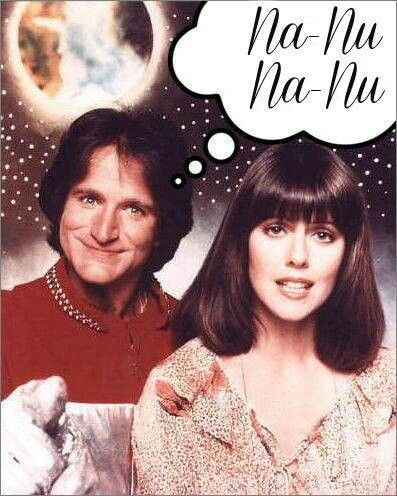 Mork and Mindy (1978 - 1982) Bizarre television comedy with Robin Williams as Mork, who is an alien sent to Earth in an egg, to investigate Earth and report back to his superiors. As an outsider, Mork is unfamiliar with human customs and often questions some of the strange traditions that we take for granted.The show was perhaps most famous for Mork's greeting, 'Nano Nano.'