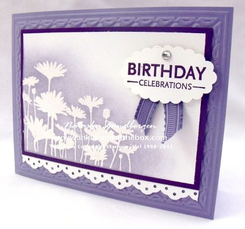 Upsy Daisy. yet another REALLY cute card. i especially like the ribbon coming out from behind/under the sentiment! so cute :) I REALLY want that frame embossing folder!!