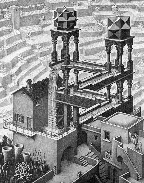 Peinture contemporaine - MC Escher - Chute d'eau