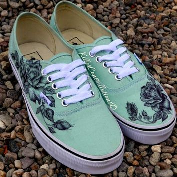 Custom hand drawn sharpie rose design vans shoes diy for Diy shoes design