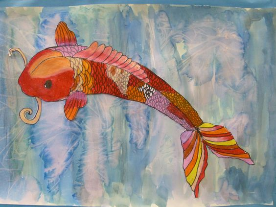 Resource warm cool koi fish in a salt watercolor pond for Cool koi fish