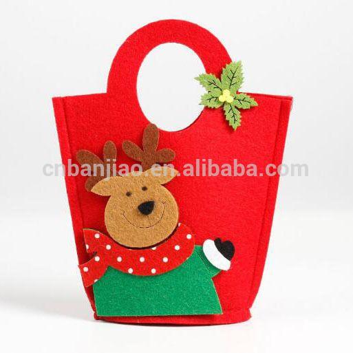 Handmade Christmas Felt Gift Bag Felt Fabric Treat Candy Party
