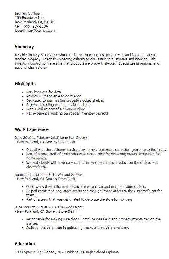 grocery store clerk resume httpjobresumesample1514 store - Liquor Store Clerk Sample Resume
