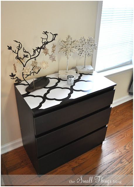 ikea hack stencil top of malm dresser i could totally do this with my old fresh out of college. Black Bedroom Furniture Sets. Home Design Ideas