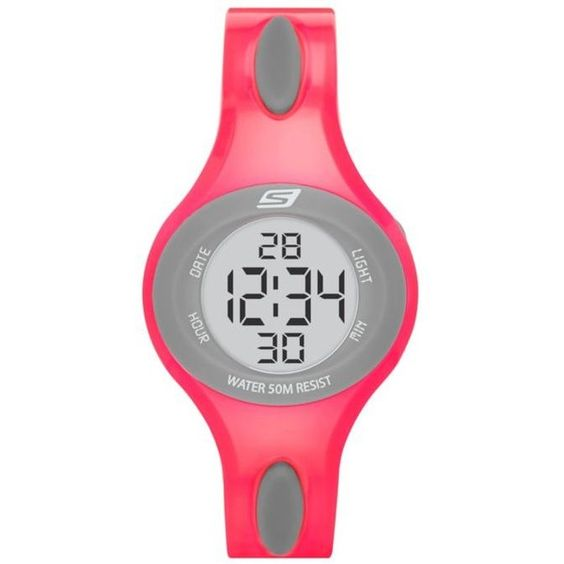 Skechers Pink Womens Polliwog Digital Neon Pink And Gray Strap Watch -... ($23) ❤ liked on Polyvore featuring jewelry, watches, pink, neon pink jewelry, skechers watches, digital watch, water resistant watches and pink digital watches