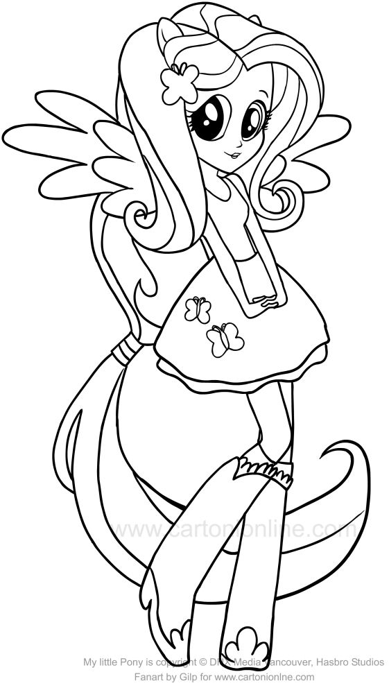 My Little Pony Equestria Girl Fluttershy Coloring Pages Coloring Pages My Pretty Pony Little Pony