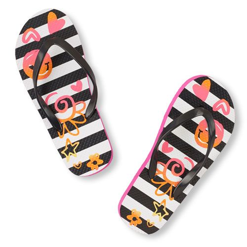 Girls Floral Striped Flip Flop - Multi - The Children's Place
