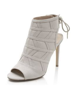 Grey Zig Zag Seam Panel Tie Back Peeptoe Heels  | New Look