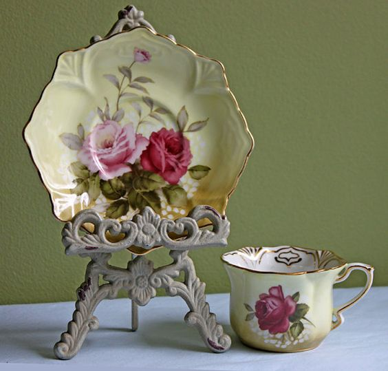 Cup and Saucer Set. Porcelain Demitasse Tea Cup with Saucer. Hand Painted Victorian Roses. Made by Madison Bay Company.