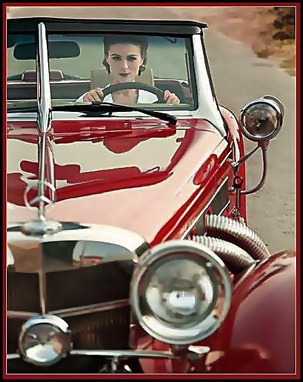 Cherry red vintage Mercedes