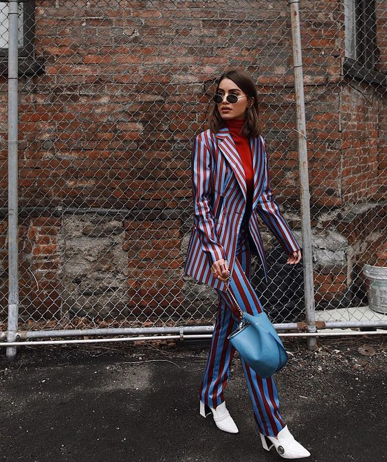 NYFW Outfits we LOVE: Try bold striped suiting like Camila Coelho.