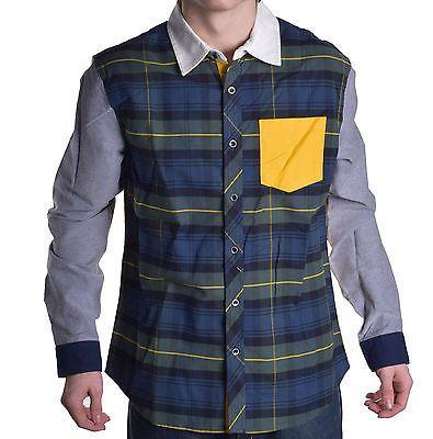 Prpgnda Men's Play To Live Moss Plaid Button Up Shirt