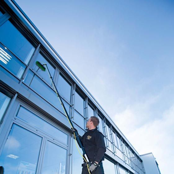 Supported Scaffolding A Temporary Platform Workers Can Stand On That Is Rests On A Surface Below Best Window Cleaner Clean Outdoor Windows Window Cleaner