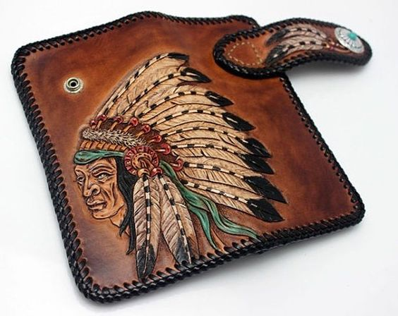 Indian Chief Tattoo Tribal Handmade Vintage Carved by Aipiyi, $158.00