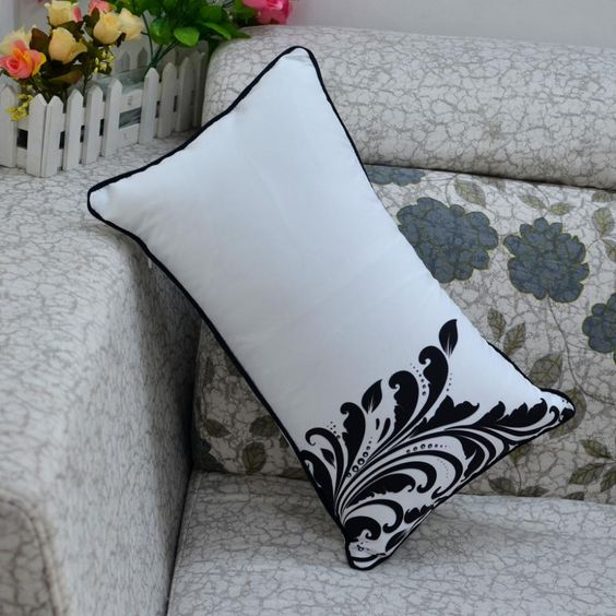 Cheap 30 * 50 cm decorativa casera hoja impresa Throw Pillow Case funda de almohada para la boda sofá, Compro Calidad Fundas de Almohada directamente de los surtidores de China: 30 *50 cm Home Decorative Black White  HAPPY printed Throw  Pillow Case for Couch BabyUSD 7.99/piece30* 50 cm Decorative
