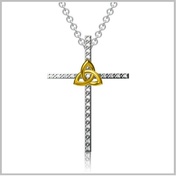 Diamond Trinity Knot Cross