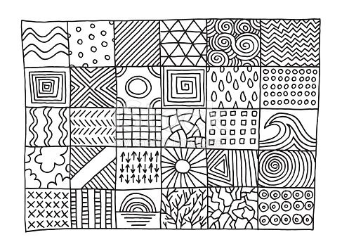 Hand,drawn vector drawing of Set Of Simple Patterns. Black