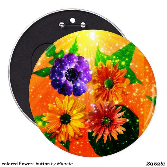 colored flowers button