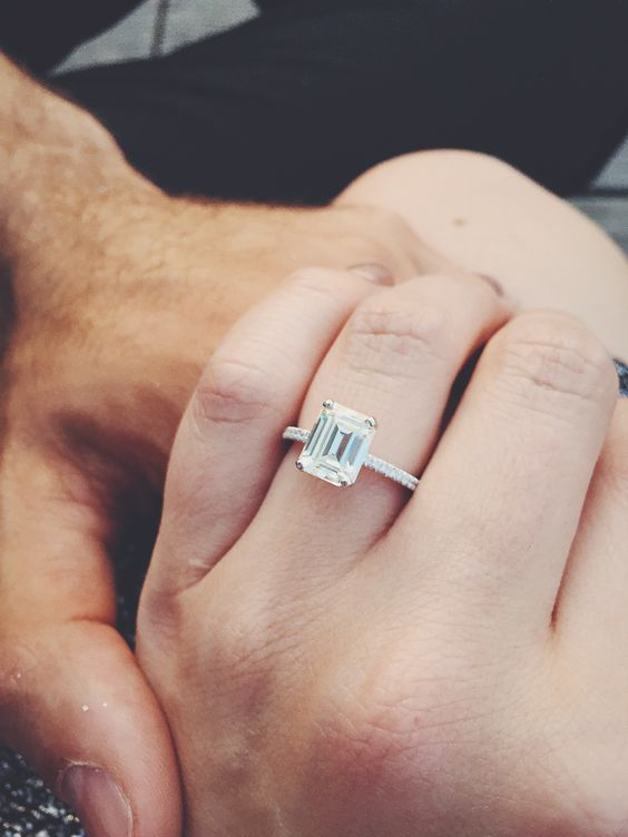 Emerald Cut Moissanite Engagement Ring Pics? - Weddingbee | Page 5