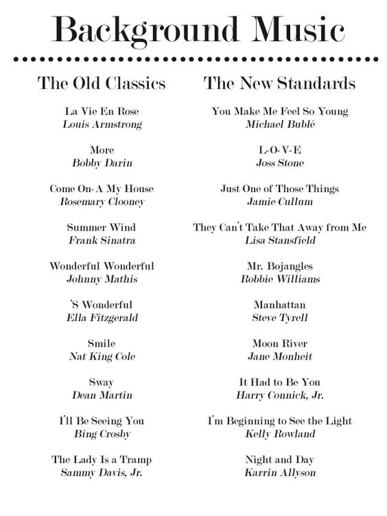 20 More Jazz Standards for Your Dinner Party Playlist -- can also be suggestions for a play list during dinner reception