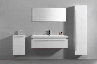 Meuble salle de bain complet 1 vasque 1 miroir 2 colonnes roma blanc laqu - Colonne de salle de bain blanc laque ...
